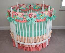 girl round crib  creative ideas of baby cribs with floral aqua teal and coral baby girl round crib cot bedding with  from lobbyforus
