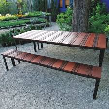 Table With Benches Set Hand Crafted Sol Outdoor Dining Table And Outdoor Bench Set