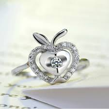 shaped rings images 925 sterling silver apple shaped ring with cubic zirconia 925 rings jpg