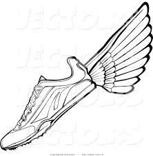 vector of a running shoe with wings black and white line drawing