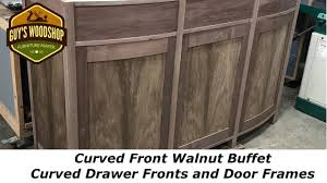 curved front walnut buffet curved drawers and door frames pt 4