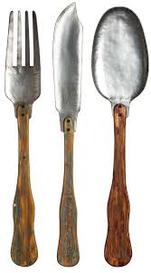 knife fork and spoon metal and wood wall decor set reviews