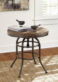 Height Of End Table by Industrial Style Round End Table With Adjustable Height By