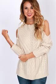 open shoulder sweater affair open shoulder sweater vanilla