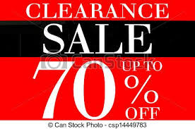 pictures of clearance sale up to 70 percents promotion label