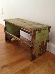 antique country primitive small wooden bench stool handmade