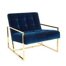 Upholstered Chaise Lounge Goldfinger Lounge Chair Blue Velvet Lounge Chair Lashay Velvet