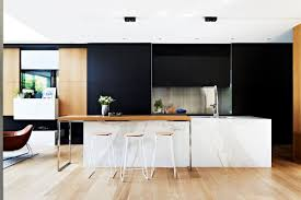 modern kitchen stool white marble island wooden breakfast countertop black cabinets
