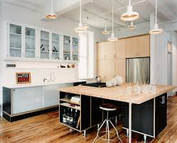 sparkling industrial kitchen island with shelves wall clock