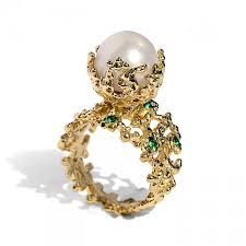 gold emerald engagement rings coral emerald pearl ring emerald engagement ring pearl