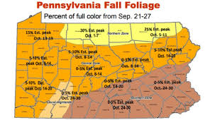 map of pa here s a map of when pennsylvania s leaves will reach peak color