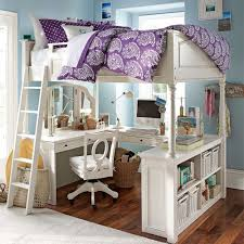 kids room awesome white modern wood loft bed with desk decor for