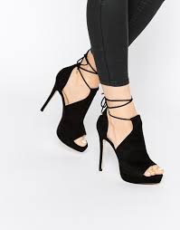 aldo aldo tilley black ankle lace up heeled sandals at asos