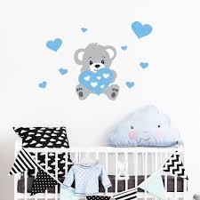 stickers nounours chambre bébé sticker nounours bleu stickers filles coeurs ambiance sticker