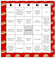 restaurant bingo free printable game free printable activities