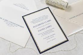 ivory gold glitter and navy panel pocket wedding invitation