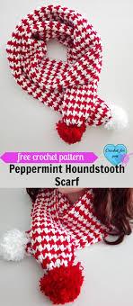 bufandas mis tejidos tejer en navidad manualidades navidenas bufanda peppermint houndstooth scarf free crochet pattern crochet bufanda