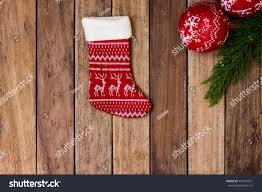 christmas stocking christmas balls juniper twig stock photo