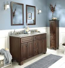 corner double sink bathroom vanity ideas brown wood modern