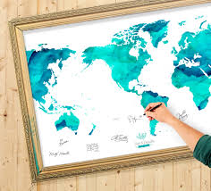 Personalized World Map by Wedding Guest Book Watercolor World Map Custom Color Add