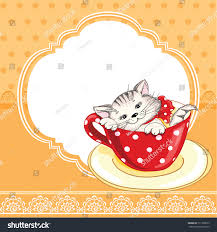 vintage birthday card funny cat on stock vector 171358673