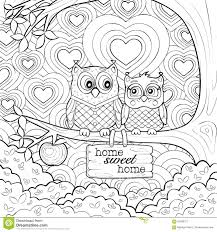 printable owl art cute owls art therapy coloring page stock vector illustration of