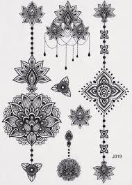 black tribal lotus temporary tattoo black henna boho bohemian