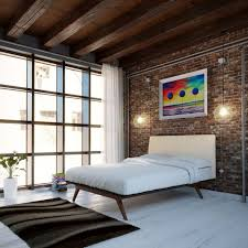 Mid Century Platform Bed Mid Century Modern Bedroom Ideas Striped White Black Wall Surface