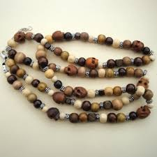 wood beaded necklace images Mens unisex wooden skull bead necklace pirate treasures handmade jpg