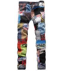 colorful designer new patchwork men jeans designer colorful cloth stitching men high