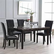 Espresso Dining Room Sets Modern 60 X 36 Inch Espresso Dining Table With Faux Marble Veneer