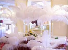 Centerpiece With Feathers by Natural White Ostrich Feathers Plume Centerpiece For Wedding Party