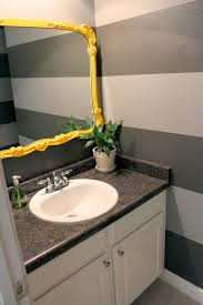 Gray And Yellow Bathroom by My Grey And White Strip Wall For My Half Bath For The Home