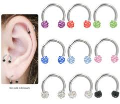 surgical steel earrings surgical steel jeweled tragus earring cartilage earring