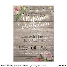 rustic wedding invitation floral wood string light rustic floral