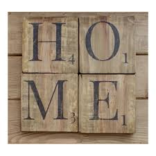 home sign wooden scrabble letters wood wall art reclaimed wood