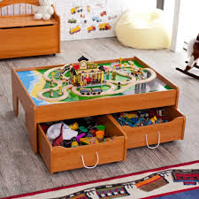 nice looking wooden honey train table design for kids with storage