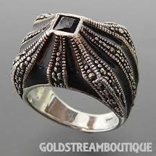 domed ring 925 silver black onyx marcasite black enamel geometric domed ring