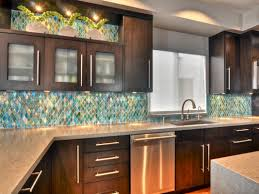 kitchen decorating design ideas using blue gold colored glass