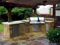 Backyard Kitchen Design Ideas Modern Outdoor Kitchen Ideas Grey Teak Wood Storage Grey Tile