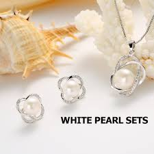 pearl pendant necklace silver images Top quality trendy cross 925 sterling silver jewelry sets pendant jpg