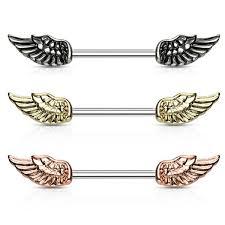 nipple rings images Pair angel wing surgical steel barbell nipple rings beauty mark jpg