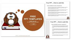 cute owl on books education powerpoint templates