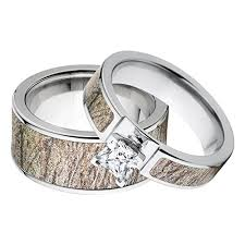 camo wedding ring sets for him and his and s matching mossy oak brush camouflage wedding ring set