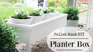 Diy Herb Garden Box by Diy Planter Box From Pallet Wood Youtube