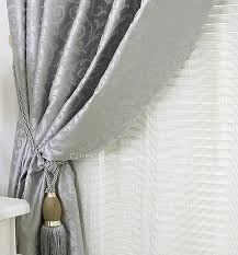 Grey And Silver Curtains Color Classic Thick Floor Length Curtains