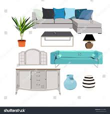 home interiors collection blue furniture set elements collection house stock vector