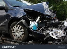 wrecked car wrecked car seen on tow truck stock photo 16374376 shutterstock