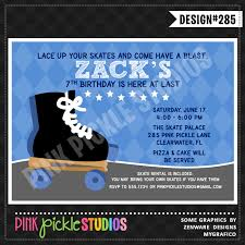 rollerskate boy personalized party invitation