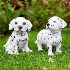 realistic black white dalmatian puppy statue garden animal